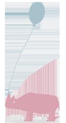 topographic Bild Nashorn mit Ballon