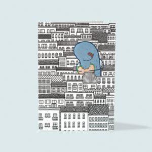 topographic Illustration Grußkarte Monstermampf