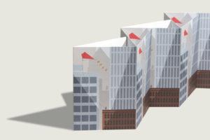 topographic Illustration Grußkarte Hochhaus Drache