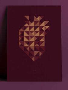 Poster A3 burgund Herz © topographic