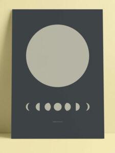 Poster A3 grau Mondphasen © topographic
